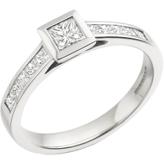 Single Stone Engagement Ring With Shoulders for Women in 18ct White Gold with a Princess Cut Centre and Princess Cut Shoulder-Diamonds on Offer