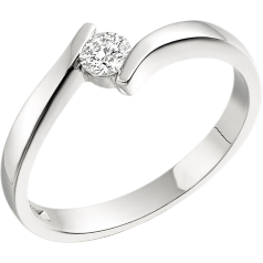 RD146/9W - 9ct white gold twist ring with a round diamond in a tension setting