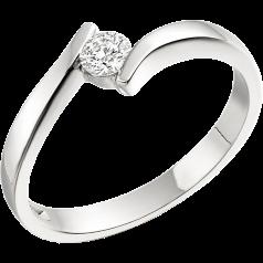 Solitär Verlobungsring für Dame in Platin mit einem runden Diamanten in Spannfassung, Twist Stil