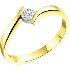 Single Stone Twist Engagement Ring for Women in 18ct Yellow Gold with a Round Diamond in a Tension Setting