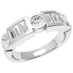 RD148W - 18ct white gold ring with round and baguette cut diamonds