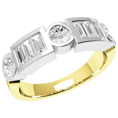 RD148YW - 18ct yellow and white gold ring with round and baguette cut diamonds