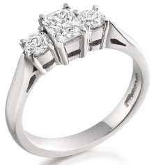 RD152W - 18ct white gold ring with a radiant cut and two round diamonds