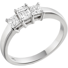 Three Stone Ring/Engagement Ring for women in platinum with an emerald cut and two princess cut diamonds