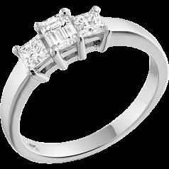 RD167W - Inel aur alb 18kt cu un diamant taietura smarald si doua diamante princess