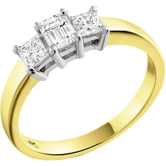 Three Stone Ring/Engagement Ring for women in 18ct yellow and white gold with an emerald cut and two princess cut diamonds