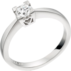 Inel de Logodna Solitaire Dama Platina cu un Diamant Rotund Briliant in Setare Gheare cu Inimioare pe Montura