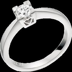 Inel de Logodna Solitaire Dama Aur Alb 18kt cu un Diamant Rotund Briliant in Setare Gheare cu Inimioare pe Montura