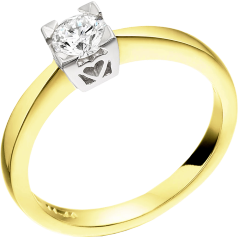 Solitär Verlobungsring für Dame in 18kt Gelb und Weißgold mit einem runden Diamanten in Krappenfassung mit Herzform auf den Seiten