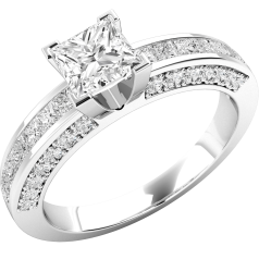 RD171W - 18ct white gold ring with a princess cut centre, princess cut and round shoulder diamonds