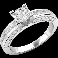 Inel de Logodna Solitaire cu Diamante Mici pe Lateral Dama Aur Alb 18kt cu un Diamant Central Rotund si Diamante Princess pe Margini