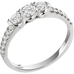 Three Stone Ring with Shoulders/Engagement Ring for women in 18ct white gold with 3 round diamonds & round diamonds on the shoulders