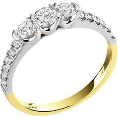 Three Stone Ring with Shoulders/Engagement Ring for women in 18ct yellow and white gold with 3 round diamonds & round diamonds on the shoulders