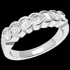 RD184PL - Inel din platină cu 7 diamante rotunde în setare rub-over