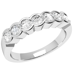 Inel Semi Eternity Dama Aur Alb, 18kt cu 7 Diamante Rotunde in Setare Rub-Over