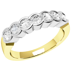 RD184YW - 18ct yellow and white gold ring with 7 rub-over set round brilliant cut diamonds