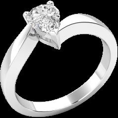 Solitär Verlobungsring für Dame in Platin mit einem Tropfen-Schliff Diamanten in Krappenfassung