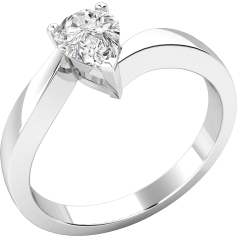 Single Stone Twist Engagement Ring for Women in Palladium with a Pear-Shaped Diamond in a Claw Setting
