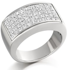 RD187W - 18ct white gold dress ring with princess cut invisible set diamonds arranged over 5 rows