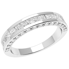 RD192PL - Platinum eternity/wedding ring with princess cut & round brilliant cut diamonds.