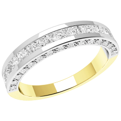 RD192YW - 18ct yellow and white gold eternity/wedding ring with princess cut & round brilliant cut diamonds