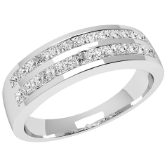 Halb Eternity Ring/Cocktail Ring mit Diamanten für Dame in Platin mit Princess Schliff Diamanten in 2 Reihen