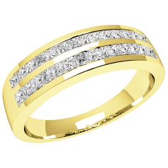 Inel Semi Eternity Dama Aur Galben 18kt cu Diamante Princess in 2 Randuri