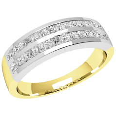 PD196Y - 18ct yellow and white gold ring with 2 rows of princess cut diamonds