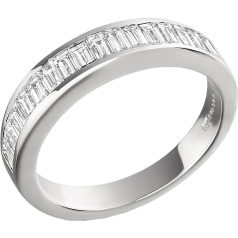 Halb Eternity Ring für Dame in Platin mit Baguette Diamanten in Kanalfassung