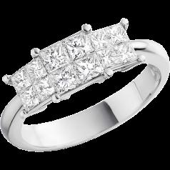 RD199W -Inel aur alb 18kt cu diamante princess, in setare invizibila