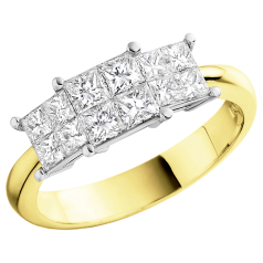 Three Stone Ring/Dress Ring/Engagement Ring for women in 18ct yellow and white gold with princess cut diamonds in an invisible setting