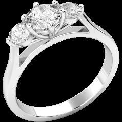 Three Stone Ring/Engagement Ring for women in platinum set with three round brilliant cut diamonds