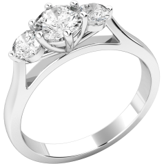Three Stone Ring/Engagement Ring for women in 18ct white gold set with three round brilliant cut diamonds