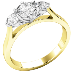 Three Stone Ring/Engagement Ring for women in 18ct yellow and white gold set with three round brilliant cut diamonds