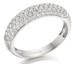 RD203W - 18ct white gold dress ring with round diamonds in a pave setting