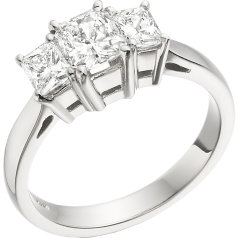 Three Stone Ring for women in platinum with 3 radiant cut diamonds in a claw setting