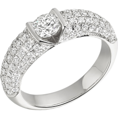 Single Stone Engagement Ring With Shoulders for Women in 18ct White Gold with a Round Diamond in the Centre and Pave Set Diamond Shoulders