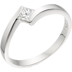 RD208/9W - 9ct white gold twist ring with a princess cut diamond in a tension setting
