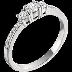 Inel de Logodna cu 3 Diamante Dama Aur Alb 18kt cu 3 Diamante Rotund Briliant si Diamante pe Margini