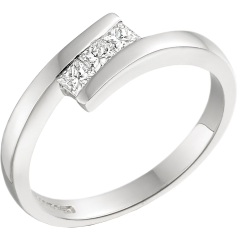 Three Stone Ring/Engagement Ring for women in 18ct white gold with 3 princess cut diamonds in tension setting