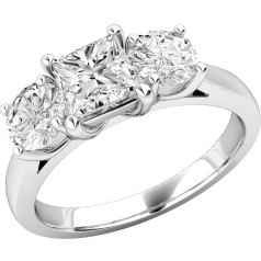 RD216W - 18ct white gold ring with one princess cut diamond and two round diamonds either side
