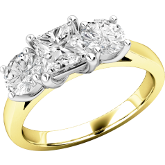 Three Stone Ring/Engagement Ring for women in 18ct yellow and white gold with one princess cut diamond and two round diamonds