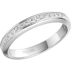RD217PL - Platinum eternity/wedding ring with princess cut diamonds in a channel setting
