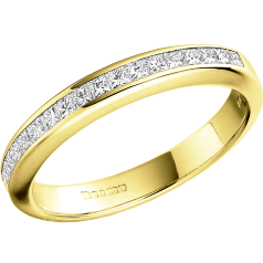RD217Y - 18ct yellow gold eternity/wedding ring with princess cut diamonds in a channel setting