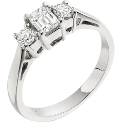 Three Stone Ring/Engagement Ring for women in platinum with and emerald cut centre and two round diamonds