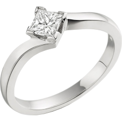 Single Stone Twist Engagement Ring for Women in Platinum with a Princess Cut Diamond in a Claw Setting