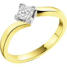 Single Stone Twist Engagement Ring for Women in 18ct Yellow and White Gold with a Princess Cut Diamond in a Claw Setting