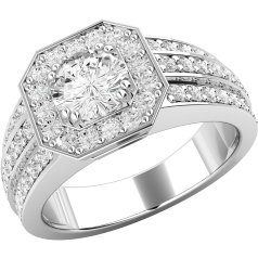 Dress Cocktail Ring/Single Stone Engagement Ring With Shoulders for Women in platinum gold with a round diamond centre and round diamonds surrounding on Offer