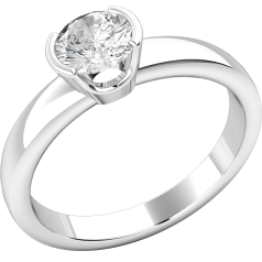 Single Stone Engagement Ring for Women in 18ct White Gold with a Round Brilliant Cut Diamond in a Semi Rub-Over Setting