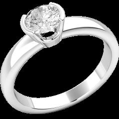 Solitär Verlobungsring für Dame in 18kt Weißgold mit rundem Brillantschliff Diamanten in Semi-Zargenfassung
